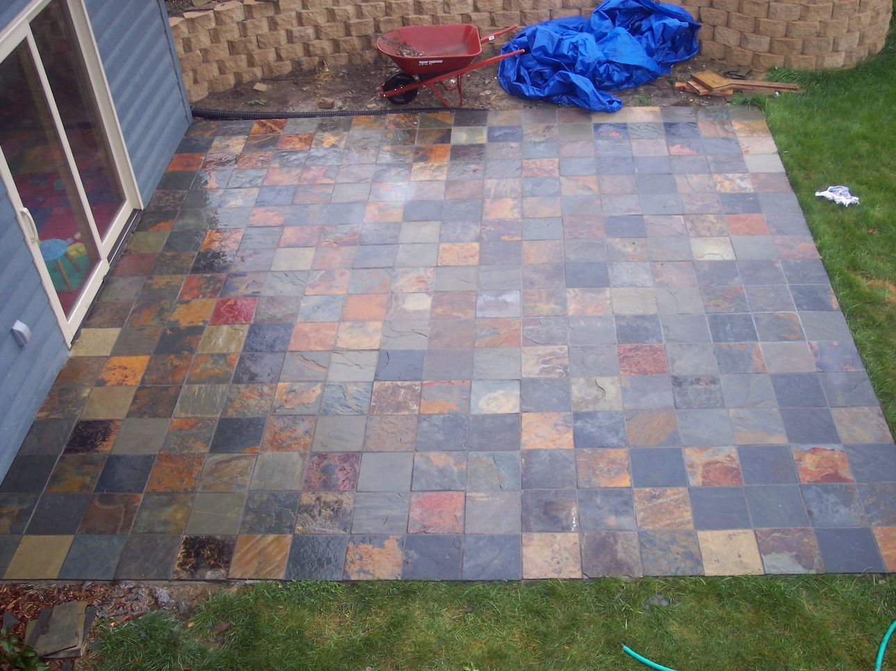 Slate Tile Over Concrete Patio 1290 x 966