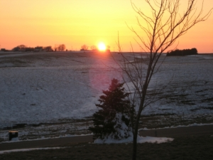 An April sunset--in the snow!